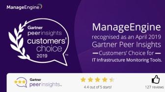 OpManager har utsetts till Gartner Peer Insights Customers' Choice 2019