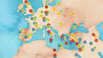 Exempel på sökningar i den digitala resursen Norse World.  (© Norse World, Leaflet, OpenStreetMap, CartoDB)