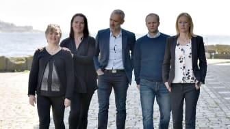 Näringslivsenheten i Karlshamn; Marianne Westerberg, Annica Hammar, Mathias Wijk, Mikael Persson och Theresia Bergdahl ser fram emot nomineringarna till Made in Karlshamn. – Här finns många företag som förtjänar priset! (Foto: Annette Sandberg)