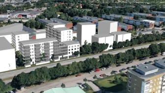 Bostadsrätterna byggs mellan Stenströms kommande hus (längst till vänster på bilden) och Tornets hyresrätter (till höger). Skissbild från Tengbom, Jönköping