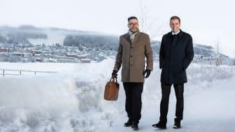 Fastighetsmäklarna Jim Edelsvärd (till vänster) och Fredrik Berglund etablerar nytt mäklarkontor i Östersund. Foto: Jens Jungdahl