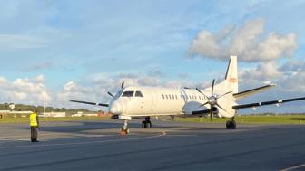 Premiärlandningen för Air Leap på Ängelholm Helsingborg Airport i augusti 2020.