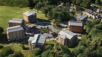 Byggelement levererar 6 300 kvadratmeter skalvägg, 13 500 kvadratmeter plattbärlag och 2 500 kvadratmeter balkonger när Botrygg uppför 136 nya lägenheter i Södra Hjulsbro i Linköping.