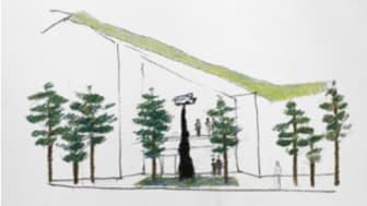Samtal med träd, skiss på skulptur vid entré till Hälsocentrum Lindesberg av Monika Gora.