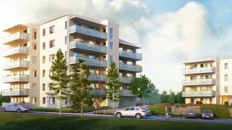 Hus C och D i HSB brf Trosalundsberget - Husen ritade av Engstrand och Speek, visualisering av Wec360