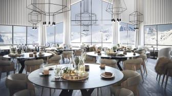 STORSATSING: Dette er de første bildene av Hurtigrutens nye storsatsing på Svalbard. Bildet viser hvordan restauranten på Radisson Blu Polar Hotel - verdens nordligste fullservicehotell - vil se ut etter oppgraderingen. Foto: HURTIGRUTEN SVALBARD