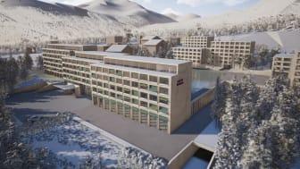 2024 soll das Mövenpick Hotel & Resort Disentis und Mövenpick LIVING Disentis neu eröffnen, © Maier Hess Architekten