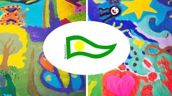 Vimpel på bild: Grön – rätten att växa och utvecklas Vit – rent vatten ren luft rent samvete,  Gul– sol ljus värme och kärlek