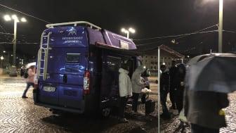 Skyddsbussen vid Brunnsparken