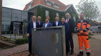 (v.l.n.r.) D. Rotering (Deutsche Glasfaser), G. Steins (Bürgermeister Gem. Kranenburg), T. Pantazidis (DG), J. Dercks (Hauptamt Gem. Kranenburg), J. Rimbach, (DG), H. Sengün, (DG), N. Jansen (Breitbandkoordinator), M. Protzek (Bauüberwachung)