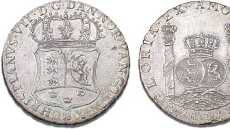 Denmark, Piaster 1771, Copenhagen, H 21, S 6, FP 32, Dav. 411A. Kurt Guldborg's collection. Estimate: DKK 350,000.
