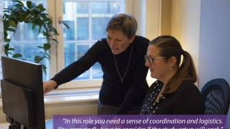 Most often the first step in a project is the start of protocol development. Here Janet Håkansson (CRM) works with Marit Wangheim (MW).