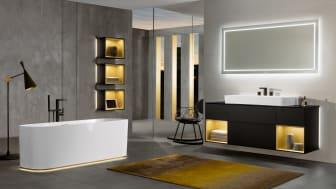 Finion er en total badeværelsesserie, der giver et utal af kombinationsmuligheder og farvevalg med eksklusiv sanitet, elegante møbler, et unikt lys- og lydkoncept og luksuriøse badekar