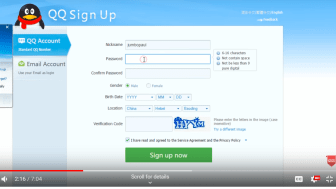 A YouTube screen grab of the QQ sign-up page
