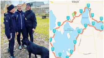 Stina Jansson, Anna Palmgren och Elisabeth Anderberg är tre av sex personer som på lördag ska gå 100 000 steg för att samla in pengar till Kvinnojouren Blenda i Växjö.