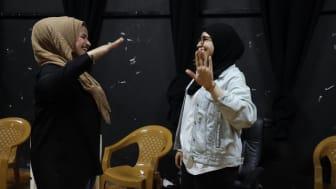 Foto från projektet Creative Arts for Peace and Equality och en workshop i Palestina.