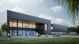 Så kommer nya simhallen Pingvinen i Varberg att se ut. Bild: Liljewall Arkitekter