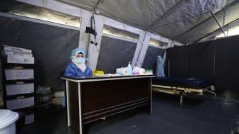 Avdelningen för bekräftade eller misstänkta fall av covid-19 på ett av sjukhusen Läkare Utan Gränser stöttar nordvästra Syrien. Foto Omar Haj Kadour/Läkare Utan Gränser.