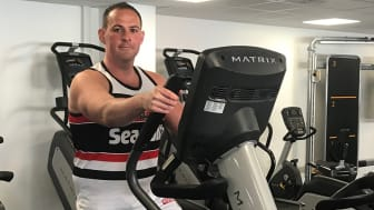 Chris Radford tries out the new equipment at Radcliffe Leisure Centre.
