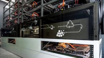 Audi batterilager af brugte bilbatterier på EUREF-Campus i Berlin