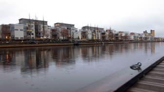 Gavleåns utlopp vid Gävle Strand, en eftermiddag i december.