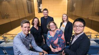 L-R Colin Allen, Dr Sarah Partington, Dr Matt Sutherland, Dr Dimitra Skoumpopoulou, Marie Foalle, Dr Longzhi Yang