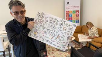 Alvaro Fuentes, hållbarhetsutvecklare på Botkyrkabyggen, med en av illustrationerna från Öppet hus i Fittja 24 maj. I bakgrunden illustratören Maja på Näset.