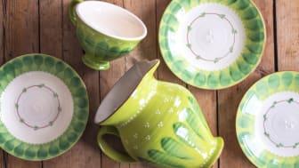 Klassiskt dalahantverk från Nittsjö Keramik. I tillverkningen utanför Rättvik finns produkter av både första och andra sortering.