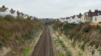 Hove cutting where essential stabilisation work will affect Southern trains between Hove and Brighton