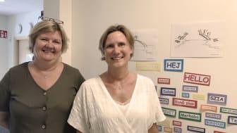 Projektledare Pia Forsberg och förskolechef Annika Selander, på förskolan Körsbäret,  som arbetar intensivt med att stärka barns rättigheter och främja integration med hjälp av projektet Bygga Broar.