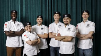 Finalister Årets Bagare 2020 fr v Maju Rull Tall, Ewa Winge, Mohamad Khir Alshibani, Tobias Henke, Montadar Kanbar, Paul Florian Ficard.