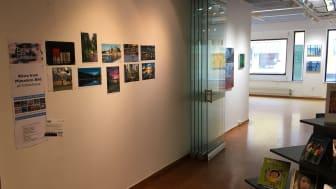 Fototävlingens finalbilder visas på Väggen intill Konstrummet på Lindesbergs stadsbibliotek.