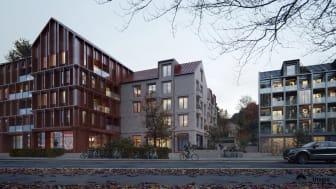 Arkitektskiss av föreslagna hus i slänten mellan Kasernhöjden och Tingvalla isstadion.