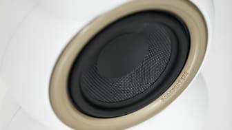 MiniPod Bluetooth MKII, Satin White. Hoop and Spikes Aluminum, soft gold
