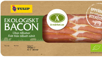 Ekologiskt, nitritfritt bacon från frigående utegrisar.