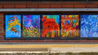 Platform paintings by Gaye Daniels and Helen Lack