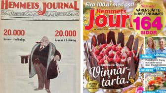 Bild: Till vänster, Hemmets Journal nr 1, 1921. Till höger: Hemmets Journal nr 13-14, 2021.