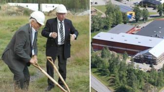 Bröderna Smith tar första spadtaget i samband med utbyggnaden av fabriken i Askersund.  Till höger; utbyggnaden tar form.