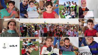 Kia och UEFA Foundation har tillsammans donerat tusentals fotbollsskor till flyktingbarn