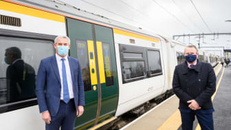Stephen Barclay MP (left) with Govia Thameslink Railway's Infrastructure Director Keith Jipps and the preview 8-carriage train at Littleport
