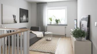 Illustration av interiör, allrum på övre plan, BoKlok småhus 2019.