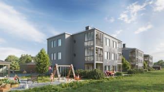 Fem nya flerfamiljshus gör nu Skedala både större och grönare och skapar en levande entré till tätorten.