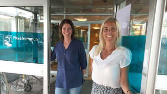 Ann-Catrin Gustafsson är nyanställd som anhörigkoordinator i socialtjänsten. Här tillsammans med omsorgschef Lena Enqvist.