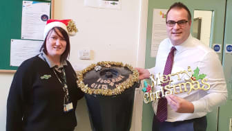 181217 Laura McDonald and Area Operations Manager Simon Bott rallied colleagues to donate to the local food banks