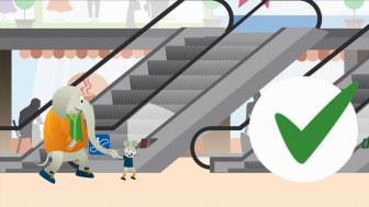 Max och Bob lär barn om säkerhet i hissar och rulltrappor