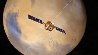 Mars Express med IRF-instrumentet ASPERA-3 befinner sig i omlopp kring Mars sedan 18 år tillbaka. Under februari välkomnas fler rymdsonder till Mars. Foto: ESA