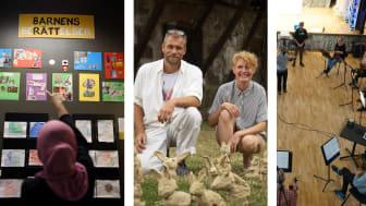 Gamlegårdens bibliotek i Kristianstad, MuralCentralen i Malmö och ShareMusic & Performing Arts är nominerade till Region Skånes kulturpalett 2021. Foto: Sarah Granholm, Peter Wiren och ShareMusic & Performing Arts