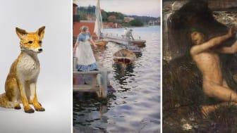 """Frida Fjellman, Skulptur """"Räv""""; Anders Zorn, Vågskvalp; Ernst Josephson, Näcken. Foto: Nationalmuseum och Statens Museum for Kunst."""