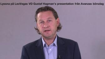 Välkommen att lyssna på LeoVegas VD Gustaf Hagmans presentation på Avanzas börsdag 2020-11-18
