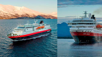 MS Polarlys and MS Kong Harald, our newly refurbished ships PHOTO: ØRJAN BERTELSEN AND GIANCARLO CASTRICHELLA (GUEST IMAGE)